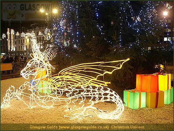 Glasgow City Guide Photograph: Glasgow Guide: Images: Christmas Unicorn.jpg Christmas Unicorn Glasgow at Night 17:38: 24 True color (24 bit) 16777216 451 600 Christmas Unicorn.htm