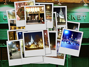 Glasgow at Night Postcards Collage