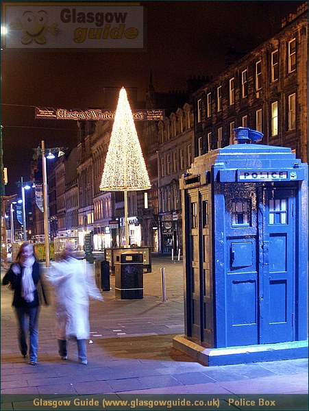 Glasgow City Guide Photograph: Glasgow Guide: Images:Police Box.JPGPolice Box Glasgow at Christmas73.2 KB 17:45: 24 True color (24 bit) 16777216 Make: Minolta Co., Ltd. Model: DiMAGE 7i DateTime: 19/12/2003 17:45:03 EXIFImageWidth: 1455 ExifImageLength: 1940 Flash: Flash did not fire - Compulsary flash surpression ISOSpeedRatings: ISO 200 FocalLength: 10.37 mm 19/12/2003 17:45:03 600 451Police Box.htm