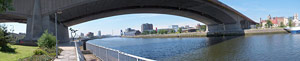 Kingston Bridge looking east, west & west again (Renfrew Ferry in foreground)